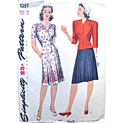 Misses Two-Piece Dress, Simplicity Sewing Pattern 1037, Factory Folded, Size 16, Bust 34, Vintage 1940s