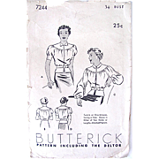 Blouse Pattern – Butterick 7244 - Dated 1923 – Cut Complete - Misses' Bust Size 34 inches