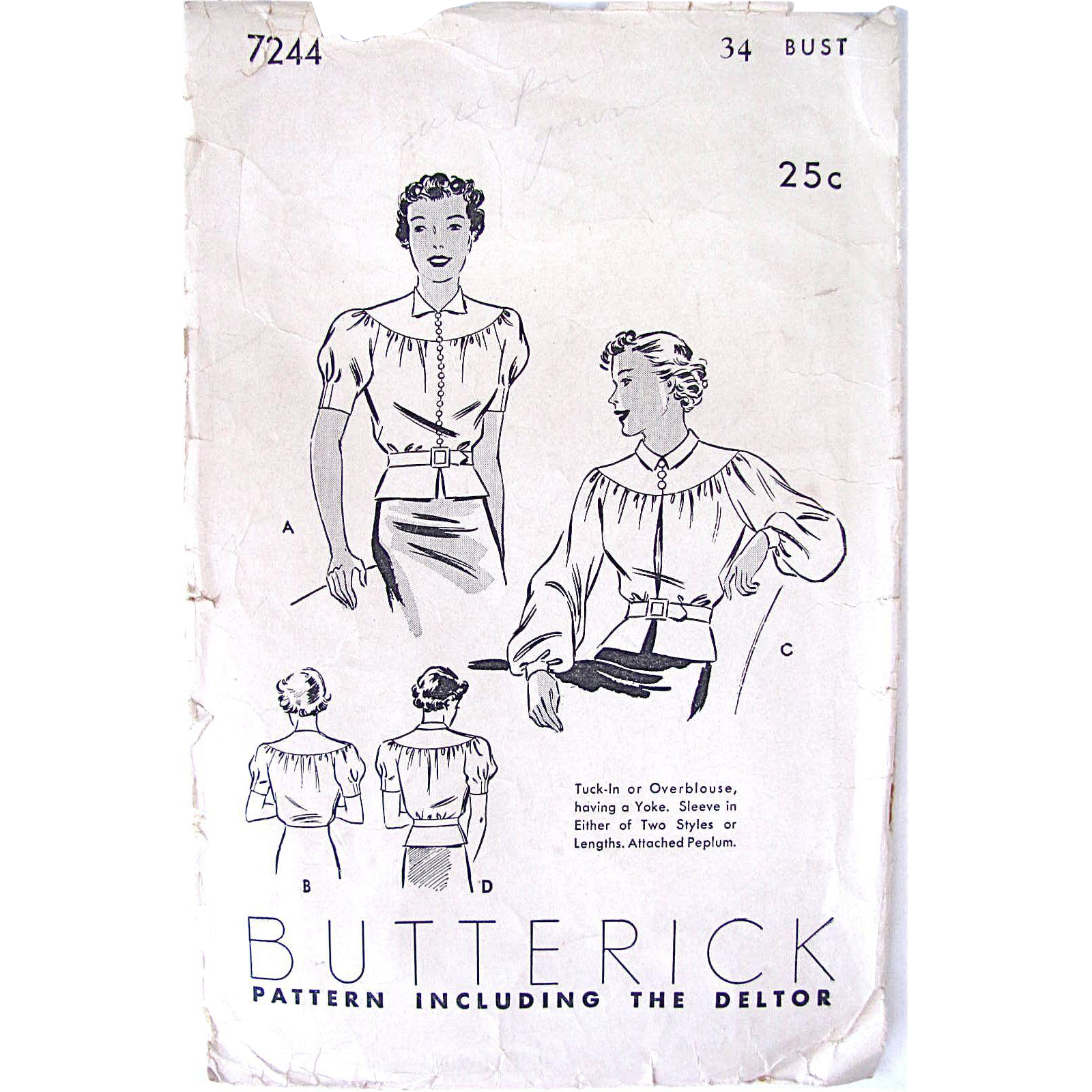 Blouse Pattern 1920s, Butterick 7244, Complete, Misses' Bust Size 34 inches