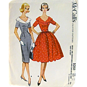 Rockabilly Dress Pattern, Uncut and Factory Folded, McCall's 5251, Vintage 1959, Misses Size 15, Bust 35