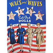 Vintage 1943 Wacs and Waves Paper Dolls Complete Original Circa World War II Whitman Cut Out Dolls