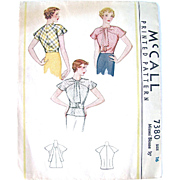 Misses Blouse Pattern, Dated 1933, McCall 7380, Size 16, Bust 34, Cut and Complete