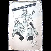 Butterick 3474, Misses Blouse Pattern, Vintage 1940s, Size 12, Bust 30, Complete