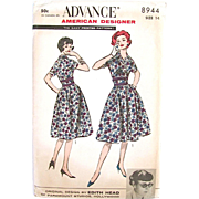 Dress Pattern, American Designer Edith Head, Advance 8944, Vintage 1950s, Misses Size 14, Bust 34