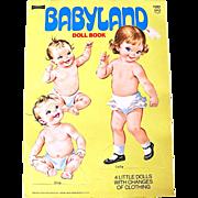 Saalfield Babyland Paper Doll Book, Uncut, Original Vintage 1960s, Complete