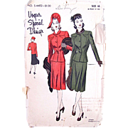 Vogue Special Design Pattern, Women's Suit, No. S-4402, Size 16, Bust 34, Vintage 1940s, Complete