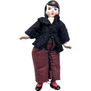 Dollhouse Gentleman, 2.75 inches Tall, German Bisque Jointed Doll, Vintage 1920s