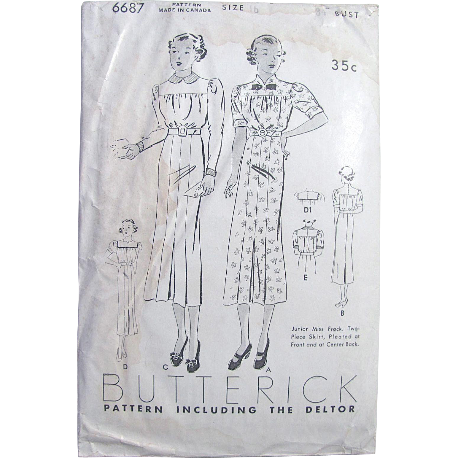 Butterick Pattern 6687, Factory Folded, Vintage 1930's, Junior Miss Dress or Frock, Size 16, Bust 34