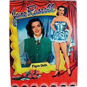 Jane Russell Paper Dolls, Uncut, Original Vintage 1955, Saalfield Movie Star Dolls with Hollywood Costumes