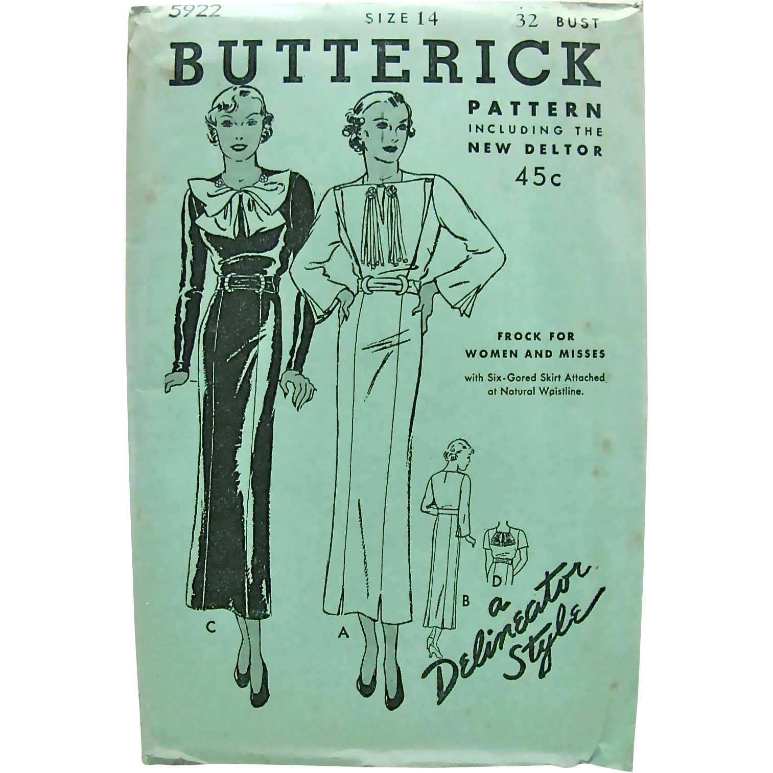 Misses Dress or Frock, Butterick Delineator Style Pattern 5922, Vintage 1930s, Factory Folded, Size 14, Bust 32