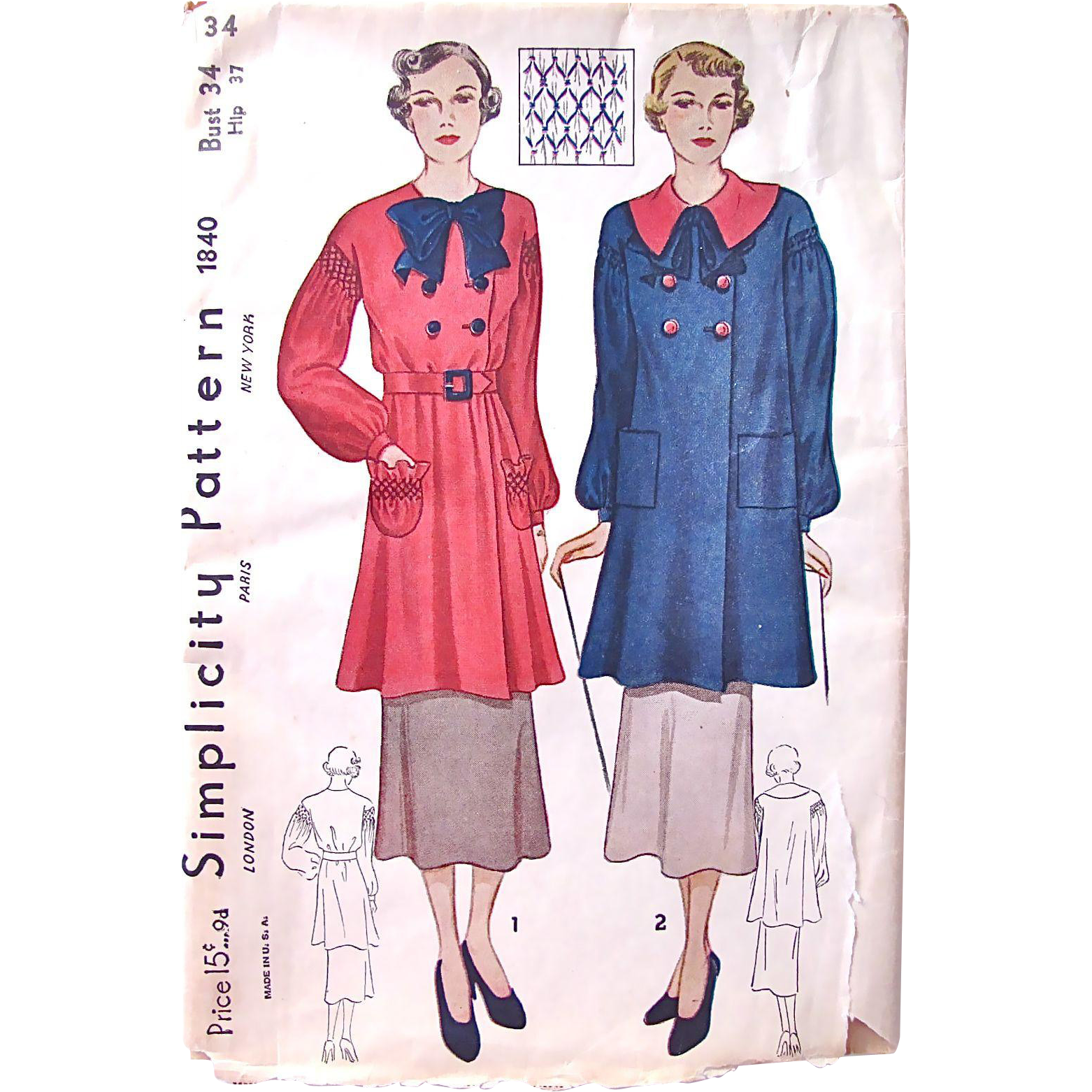 Simplicity Pattern No. 1840, Artist's Smock or Over-blouse, Factory Folded with Unused Transfer, Vintage 1930s, Misses Size Bust 34 inches