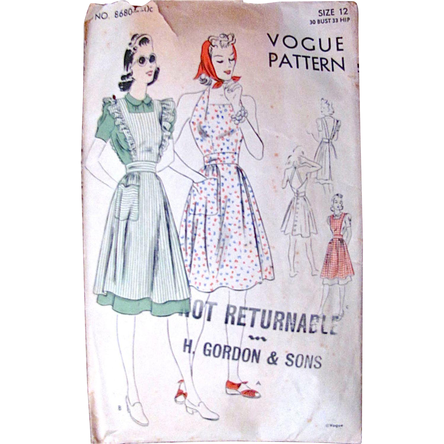Play Dress or Pinafore, Vogue Pattern 8680, Misses Size 12, Bust 30, Complete, Vintage 1940s, Easy-To-Make