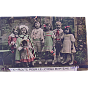 On The Way To A Joyful Baptism, Tinted French RPPC, Bisque Bebe Doll, 3 Little Boys and 3 Little Girls, Dated 1913