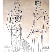 Flapper Dress Pattern, Misses Frock, Pictorial Printed Pattern 4816, Size 18, Complete with Pictograf Sheet, Dated 1925