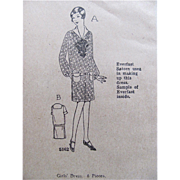 Flapper Girls' Dress Pattern, Ladies Home Journal Pattern 4816, Size 14, Factory Folded, Vintage 1920s
