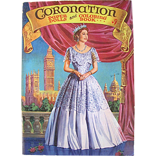 Queen Elizabeth II Coronation Paper Dolls and Coloring Book, Saalfield, Vintage 1953, Complete, Uncut, Uncolored