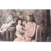 French Bebe Doll and Pretty Girl, Hand Tinted French Real Photo Postcard, Vintage Early 1900s