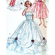 Ball Gown Pattern, Simplicity 2231, Partially Cut and Complete, Vintage 1950s, Evening  Dress In Two Lengths with Bolero, Misses Size 12, Bust 32 inches
