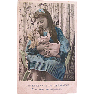 Tinted French Real Photo Post Card, La Etrennes De Germaine, Girl and German Bisque Doll, Edwardian Era