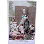 Tinted French Real Photo Post Card, Les Joies Du Foyer, Little Boy and Girl with 3 Doll Children, Circa 1910s