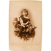 Well-Dressed Girl and Lady Doll, Large Cabinet Card Photograph, Studio Portrait, Victorian Era