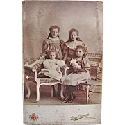 Little Women, 4 Sisters With Their Dolls, Large Cabinet Card Photograph, Studio Portrait, Late Victorian Era