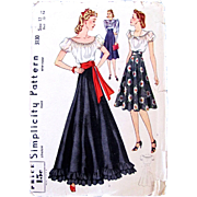 Simplicity 3130, Factory Folded, Vintage 1940s, Misses Blouse & Skirt, Size 12, Bust 30 Inches, Daytime or Evening Fashion