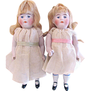 Pair Antique All Bisque Dolls by Kestner, 6 Inch, Marked 600 3 ½, Circa 1915