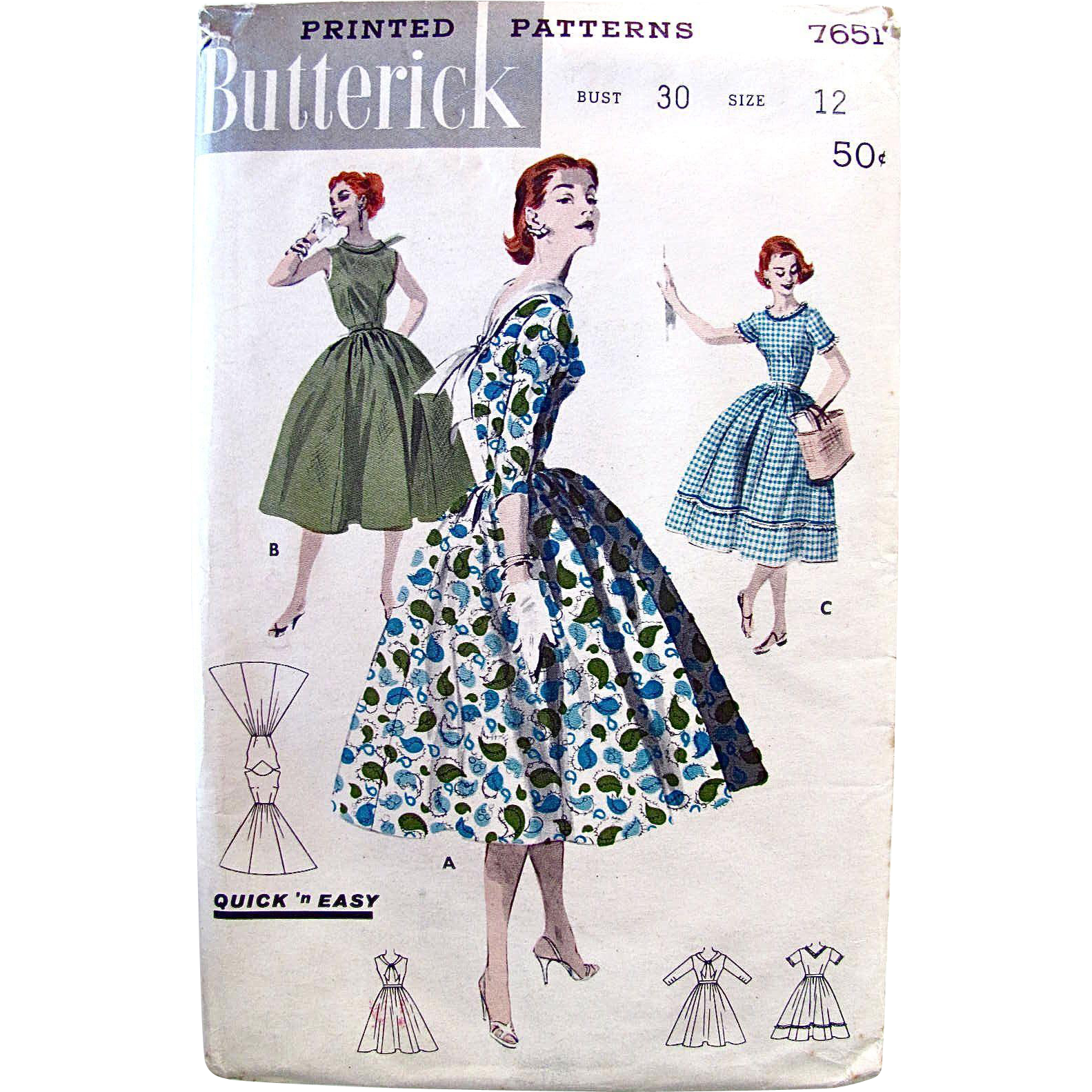 1956 Vintage Misses Full Skirt Dress, Butterick 7651, Uncut, Printed Sewing Pattern, Size 12, Bust 30, Factory Folded