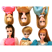 Dawn, Glori, Angie, 6 Different Dressed Dolls, Topper Toys Vintage 1970s