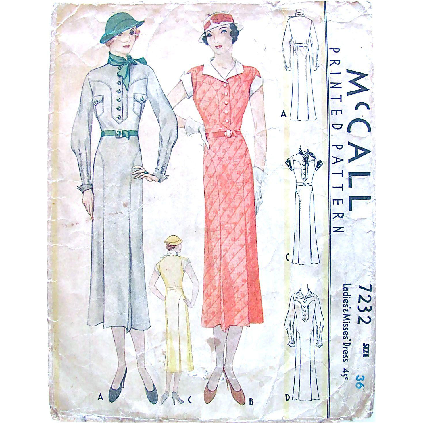 Misses Thirties Dress, McCall Pattern 7232, Vintage 1933, Complete, Die Cut, Size 36