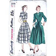 1948 Sewing Pattern, Misses One-Piece Dress with Soutache Trim, Simplicity 2318, Uncut Factory Folded, Size 12, Bust 30 Inches