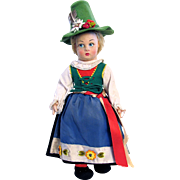 Lenci Italian Felt Doll, Tyrolean Girl with 2 Tags, 14 Inch, Lucia Face, Vintage Late 1940's