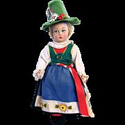 Lenci Italian Felt Doll, Tyrolean Girl with 2 Tags, 14 Inch, Lucia Face, Vintage Late 1940's