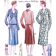 Early Printed Pattern, McCall 5892, Ladies & Misses Flapper Dress, Size 18, Die Cut & Complete, Dated 1929