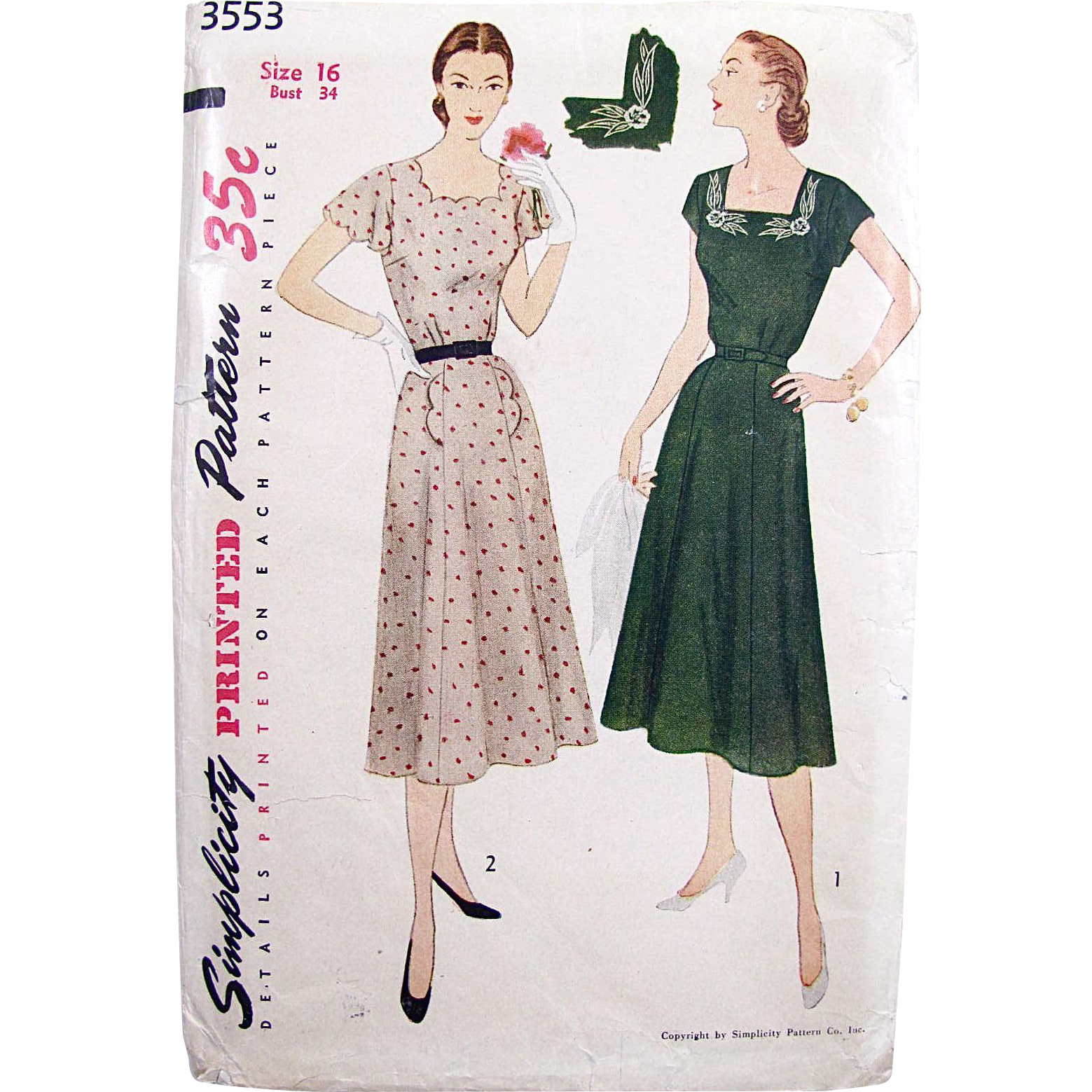 Simplicity 3553, Misses Embroidered Dress Pattern, Vintage 1951, Complete and Factory Folded, Size 16, Gored Skirt, Square Neckline, Bust 34 Inches