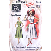 Summer Dress Pattern, American Designer Elizabeth Hilt for Henry Rosenfeld, Advance 5818, Vintage 1950s, Misses Size 16, Bust 34
