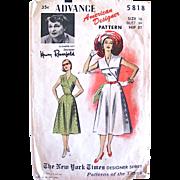 Summer Dress Pattern, American Designer Elizabeth Hilt for Henry Rosenfeld, Advance 5818, Vintage 1950s, Misses Size 16, Bust 34