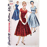 Simplicity 1134, Uncut Sewing Pattern, Evening Dress, Vintage 1955, Dress In Two Lengths, Misses Size 16, Bust 34 inches