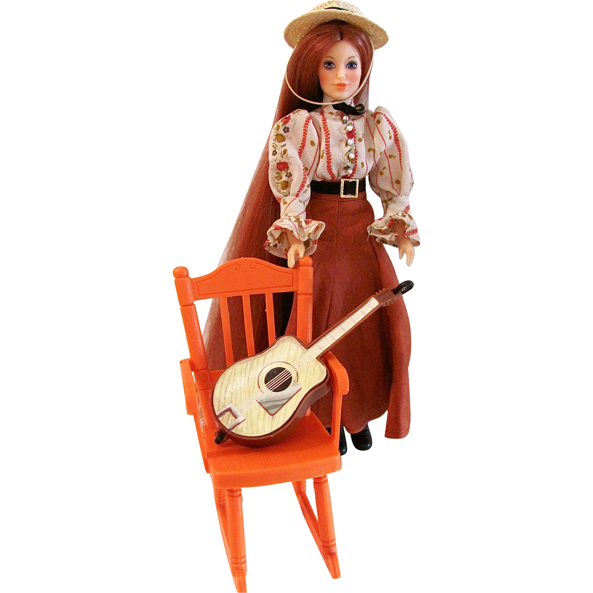 Vintage 1975 Jody Doll by Ideal The Country Girl, General Store with Chair and Guitar
