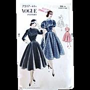Vogue Pattern 7517, Dinner Dress, Full Skirt, Narrow Waist, Size 16, Factory Folded Vintage 1951 Easy To Make