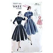 Vogue Pattern 7517, Dinner Dress, Full Skirt, Narrow Waist, Size 16, Factory Folded Vintage 1951 Easy To Make