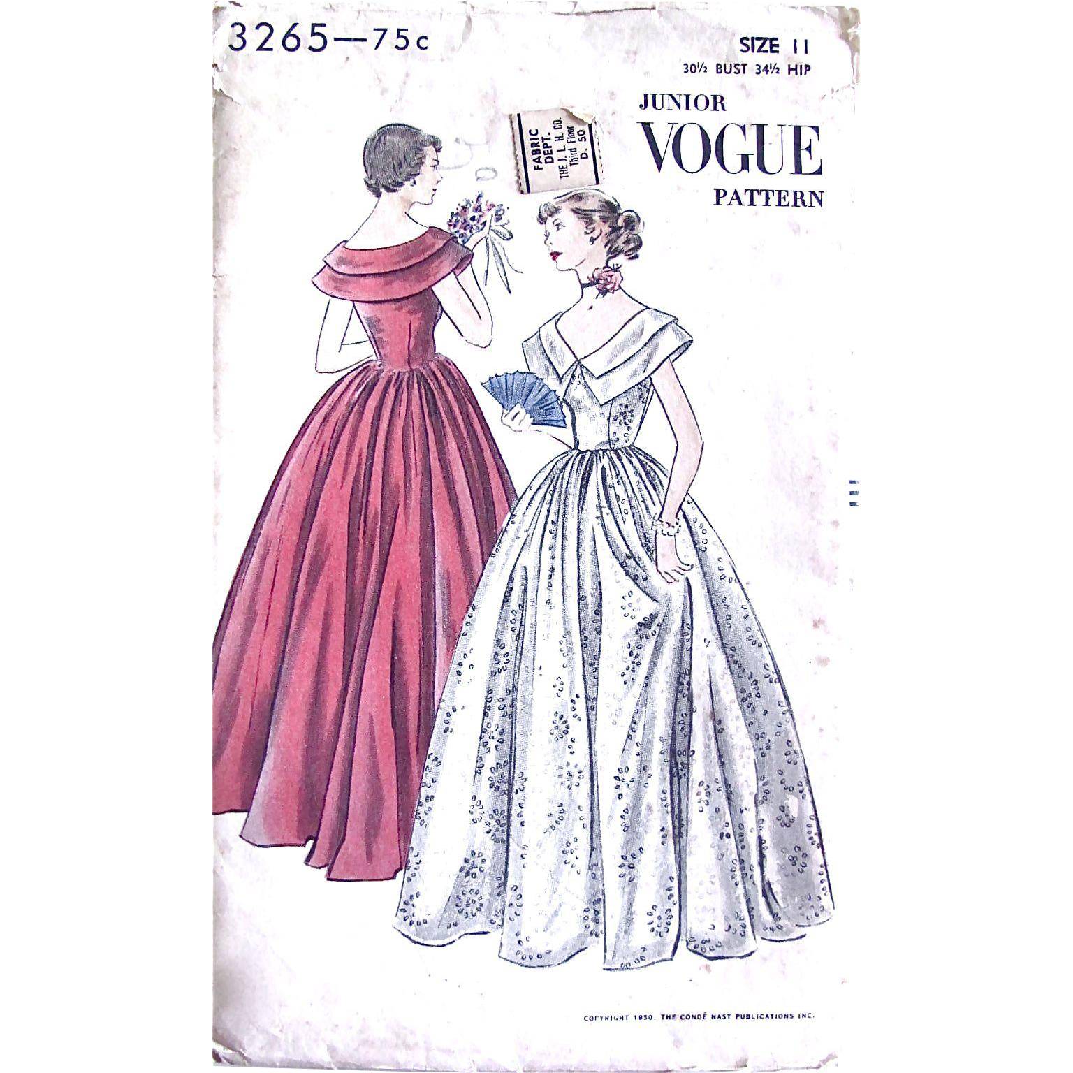 Junior Vogue 3265 Sewing Pattern, Formal Dress, Evening Gown, Size 11, Bust 30-1/2 Inches, Factory Folded, Vintage 1950s