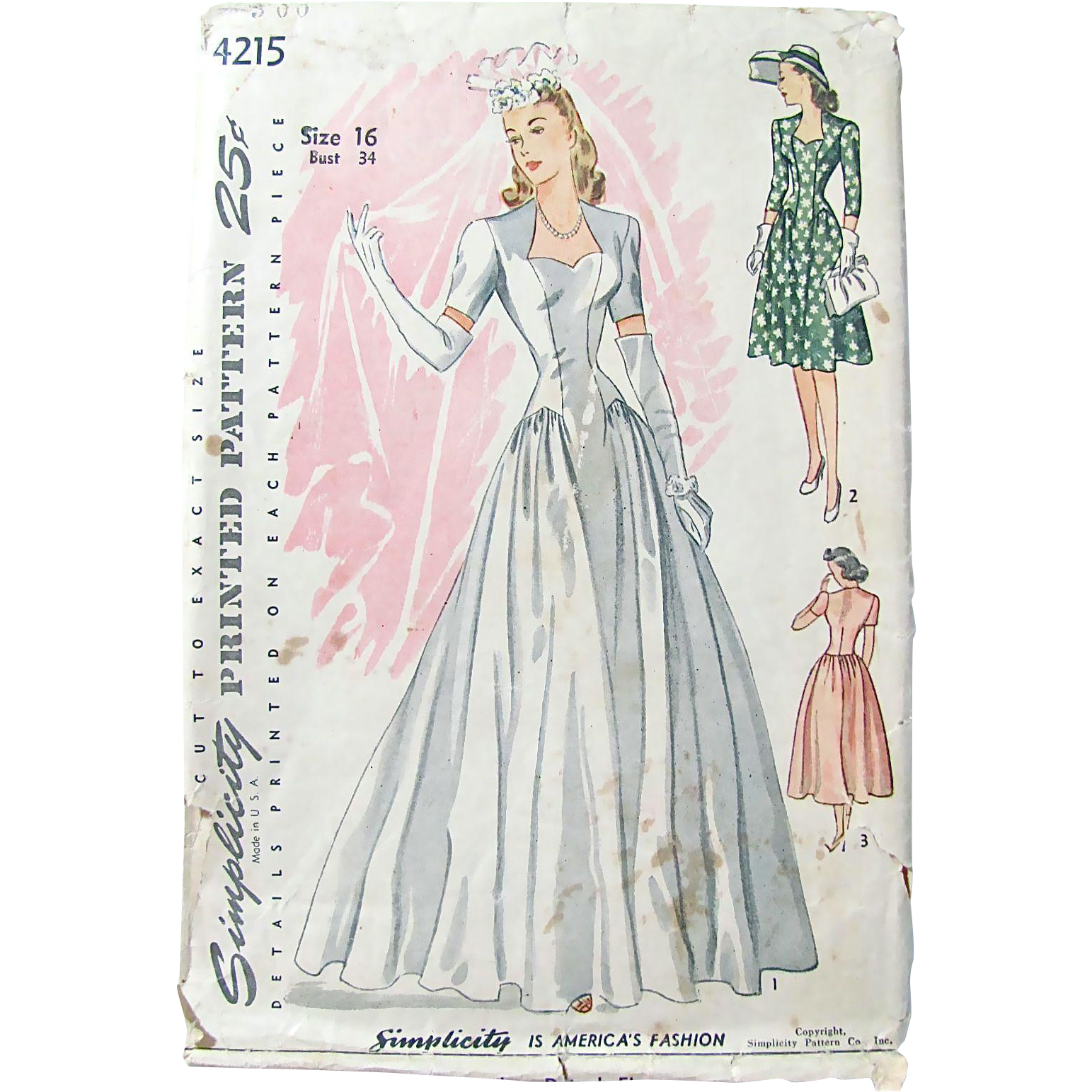 Vintage Wedding Gown Pattern, Simplicity 4215, Circa 1940s, Size 16, Bust 34, Misses' Dress Complete