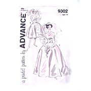 Wedding Dress Pattern, Advance 9302, UNCUT, Vintage 1960s, Misses' Bridal Gown, Size 16, Bust 36