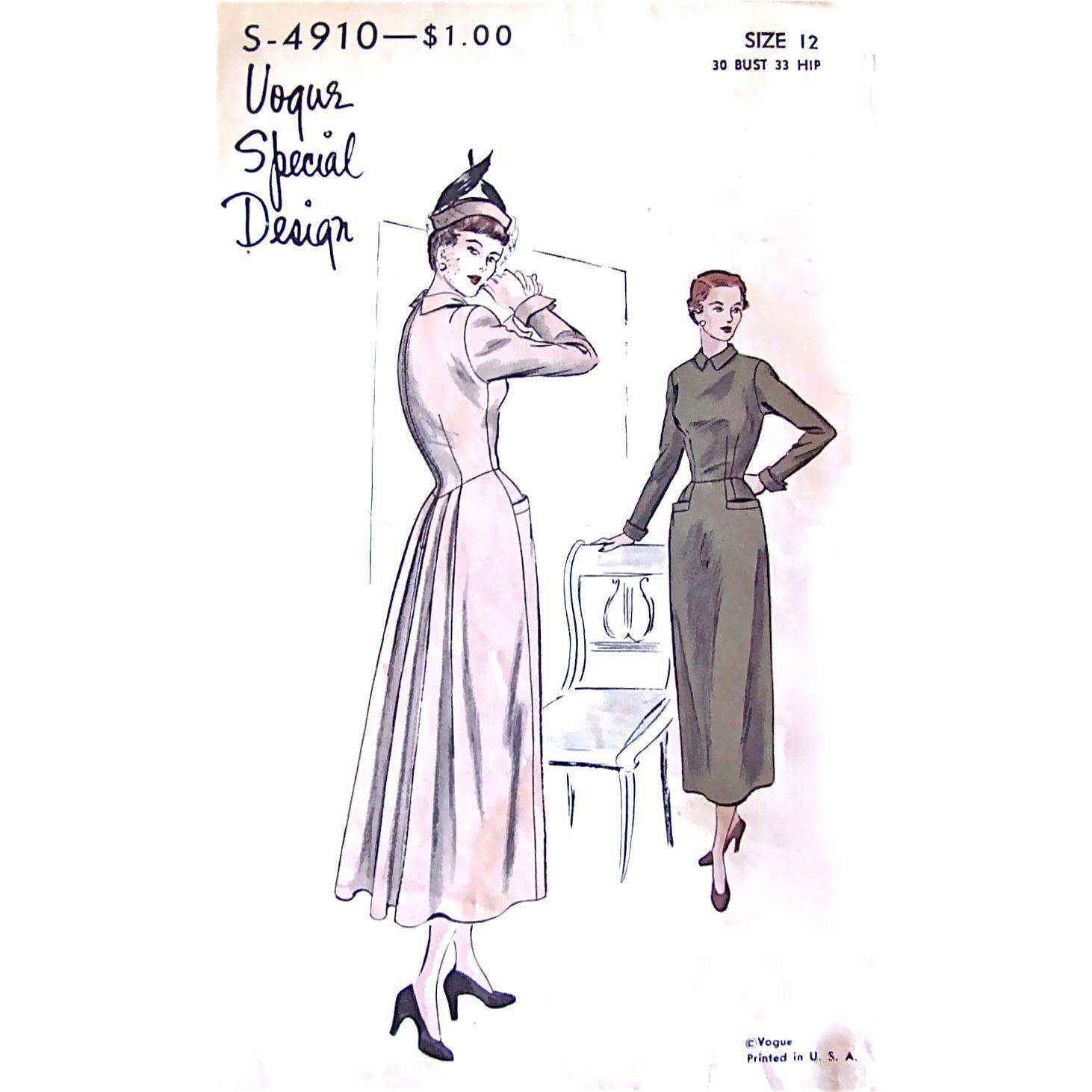 Vogue Special Design Pattern S-4910, Vintage 1940s Cocktail Dress with Dropped Waist Back Panel, Size 12, Bust 30, Complete
