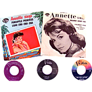 Annette Sings, Lot of 5 Different 45-RPM Records, Picture Sleeves, Disneyland, Buena Vista, Vintage 1960s