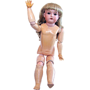 Kestner Open-mouthed Child Doll on Stamped Composition Ball Jointed Body, 24 Inch, Vintage 19-Teens
