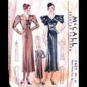 McCall Printed Pattern 7489, Misses Princess Dress, Vintage 1933, Size 18, Bust 36, Complete
