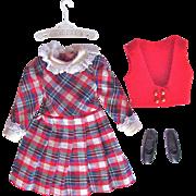 Skipper Doll Dress, Vest, Shoes Rainy Day Checkers Vintage 1966 Mattel Fashion 1928